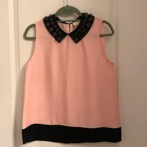 Kate Spade Pink & Black Top w/ Jeweled Collar.